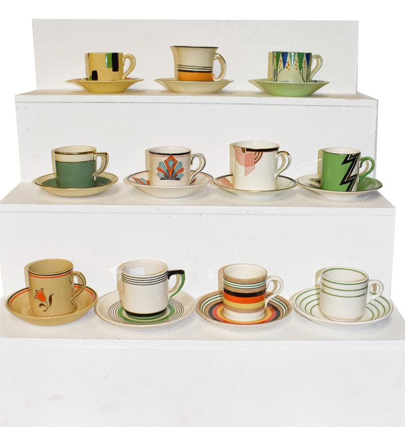 A group of Art Deco coffee cans and saucers (three trays) - Image 2 of 3
