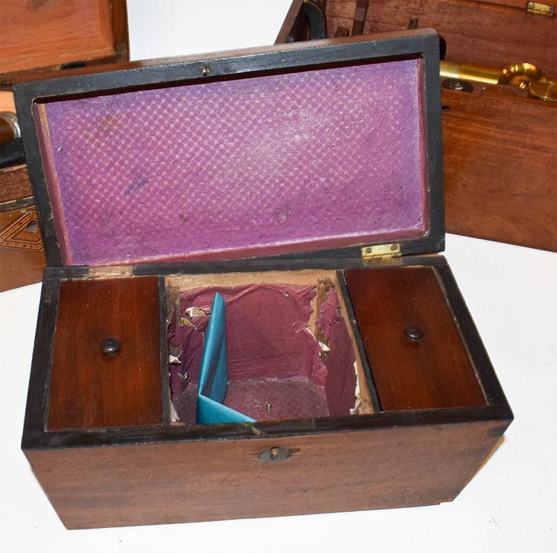 A brass microscope by Henry Crouch, London model 4058 in a mahogany case together with a tea- - Image 8 of 8