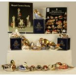 A tray of assorted Royal Crown Derby paperweights including Mallard, Catnip kitten, Kingfisher,