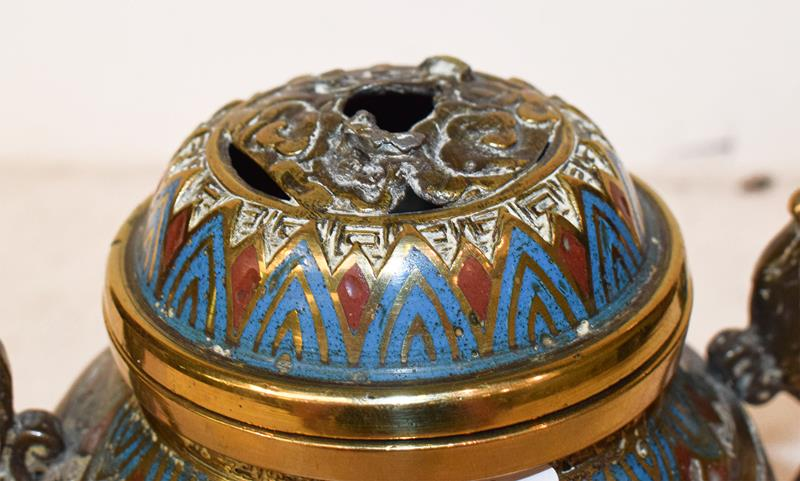 A Japanese twin handled bronze vase with champleve enamel decoration, 30cm, together with a koro - Image 5 of 25
