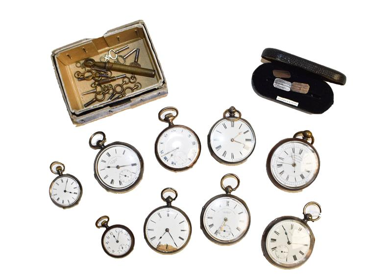 Five silver open faced pocket watches, another pocket watch case stamped 0.800, two lady's fob