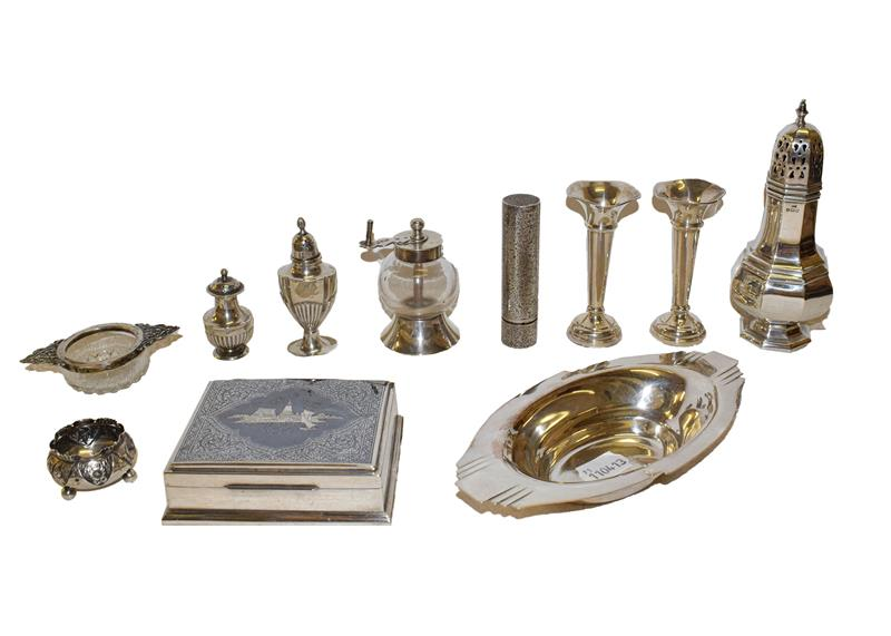 A collection of assorted silver and silver plate, the silver comprising an octagonal caster, a