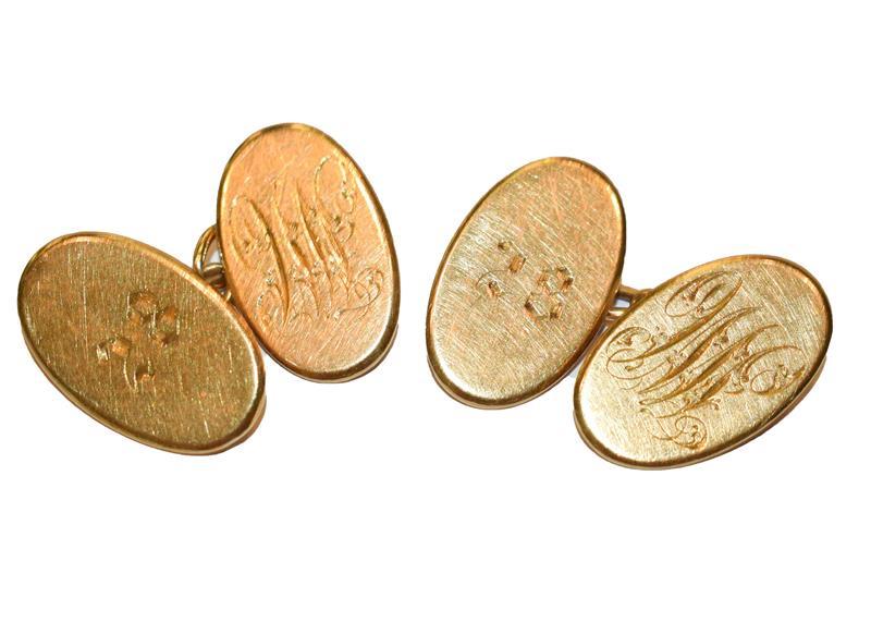 A pair of 18 carat gold cufflinks . Gross weight 12.7 grams.