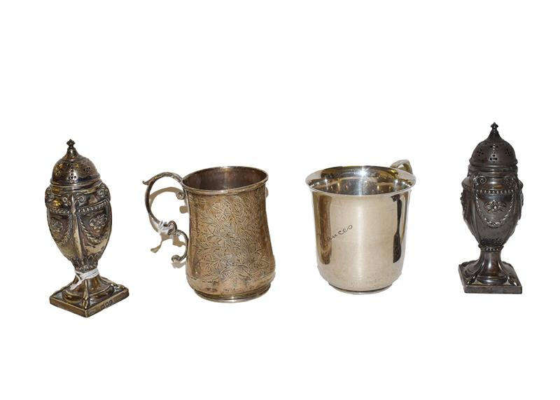 A collection of silver, comprising a pair of neo-classical pepperettes, by Hawksworth, Eyre & Co