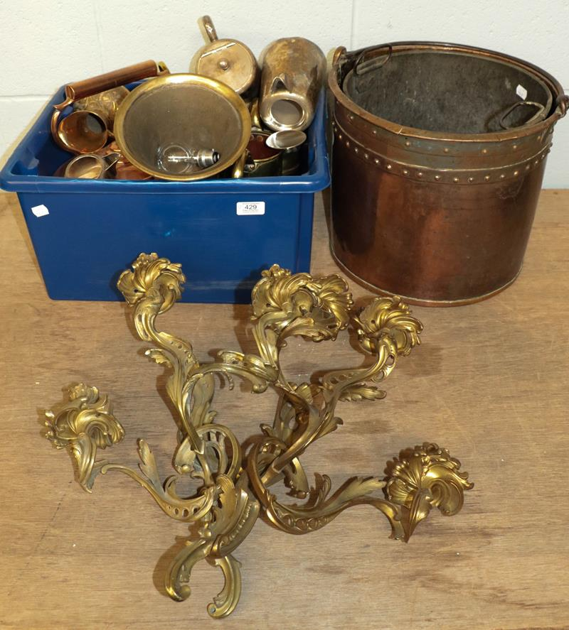 A pair of Rococo style gilt metal three-branch wall lights, Victorian copper coal bucket and a box