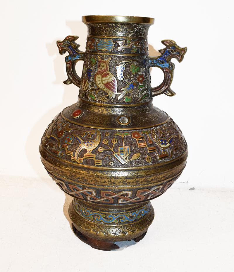 A Japanese twin handled bronze vase with champleve enamel decoration, 30cm, together with a koro - Image 22 of 25