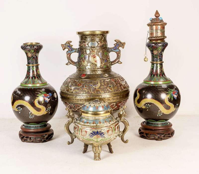 A Japanese twin handled bronze vase with champleve enamel decoration, 30cm, together with a koro