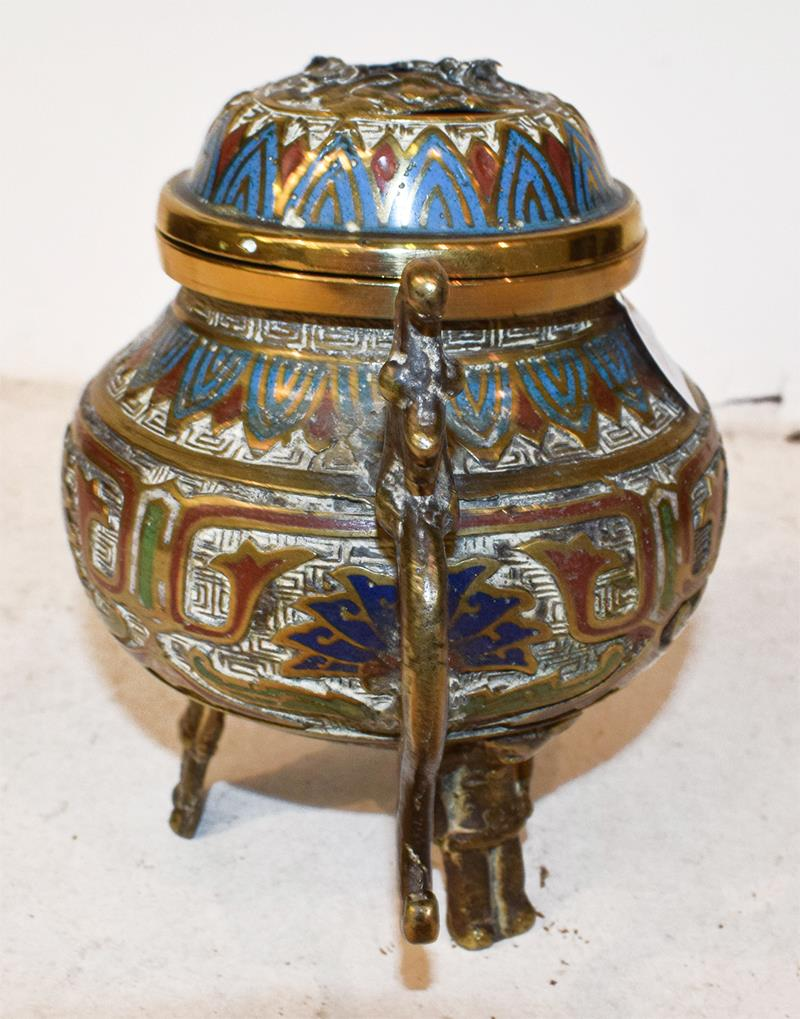 A Japanese twin handled bronze vase with champleve enamel decoration, 30cm, together with a koro - Image 4 of 25