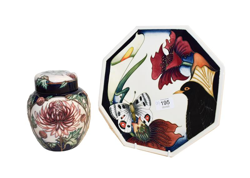 A modern Moorcroft Chrysanthemum pattern ginger jar and cover, designed by Carole Lovatt, 15.5cm and