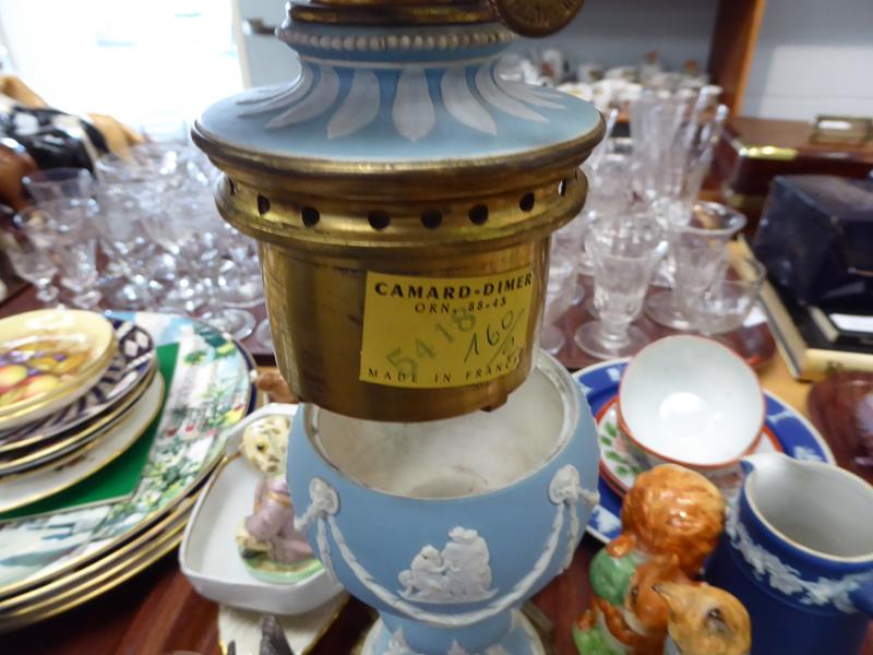 A 19th century pale blue Jasperware oil lamp, a quantity of various paperweights by Caithness and - Image 3 of 4