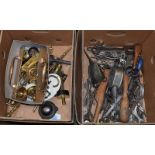 Three boxes of assorted tools, brass fitting etc (two boxes)