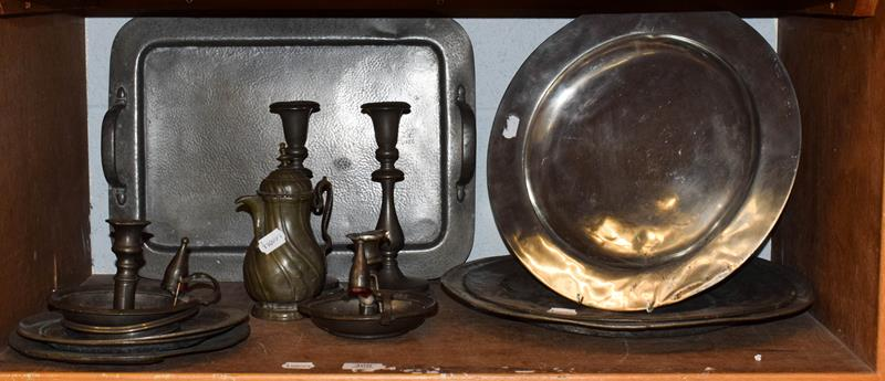 Pewter including Arts & Crafts, twin-handled tray, 19th century charges, candlesticks etc (one
