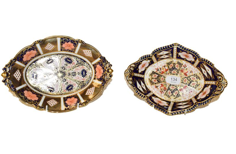 Two Royal Crown Derby lozenge shaped dishes one in the Imari 1128 pattern T930 29cm long, and