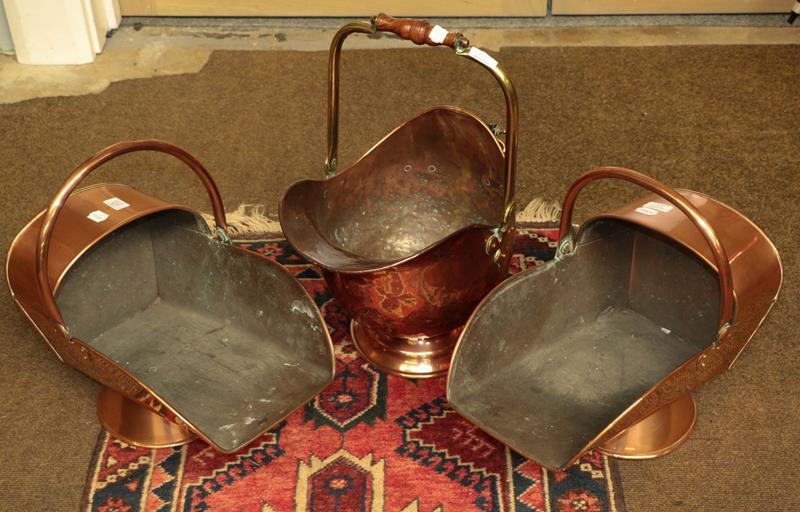 Three Victorian copper coal scuttles