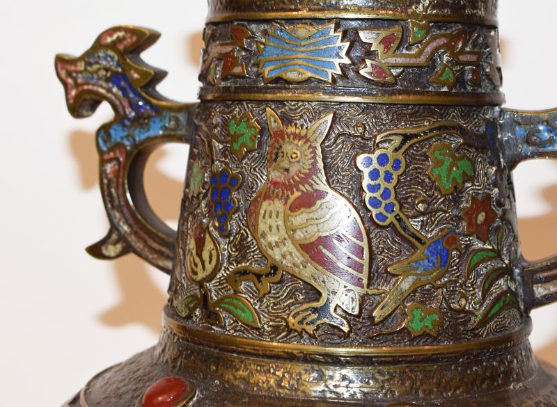 A Japanese twin handled bronze vase with champleve enamel decoration, 30cm, together with a koro - Image 23 of 25
