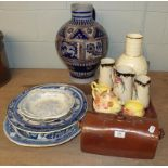 A large Westerwald stoneware jug and a quantity of ceramics including a Spanish faience charger,