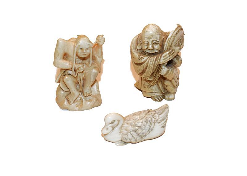 Three late 19th century Japanese ivory netsuke
