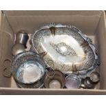 A collection of silver and silver plate, the silver including: a cased egg cup and spoon, an