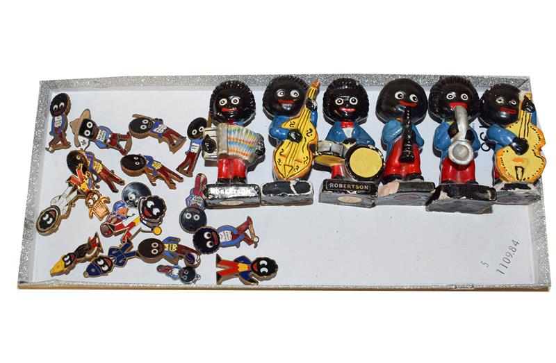 Robertson advertising items to include assorted enamel lapel badges and figures of musicians