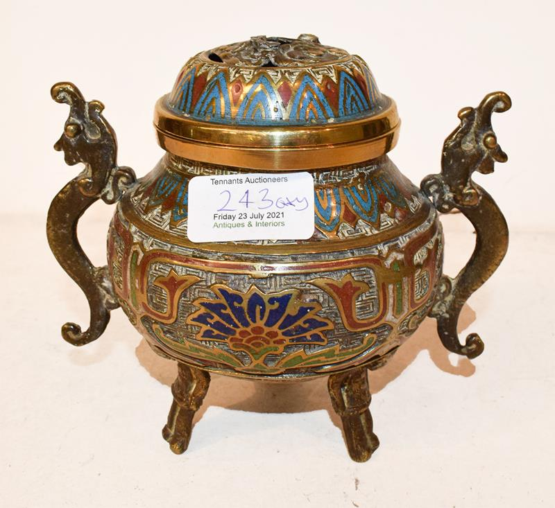A Japanese twin handled bronze vase with champleve enamel decoration, 30cm, together with a koro - Image 2 of 25