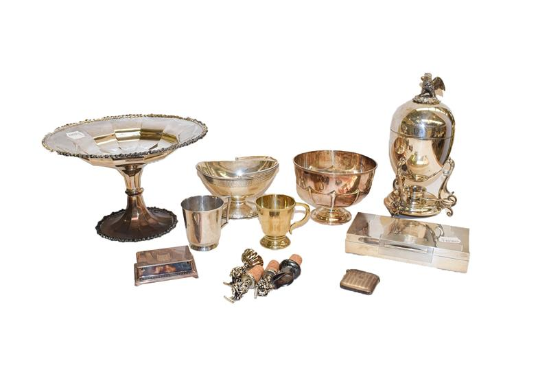 A collection of assorted silver and silver plate, the silver comprising a Victorian silver bowl in