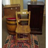 A coopered oak barrel converted to a stool, an early 19th century fitted oak box with bone