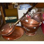 A copper coal scuttle, kettle, warming pan, three pictures and a camera etc (qty)