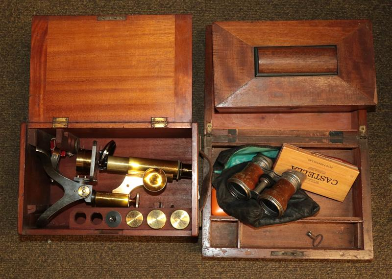 A brass microscope by Henry Crouch, London model 4058 in a mahogany case together with a tea- - Image 4 of 8