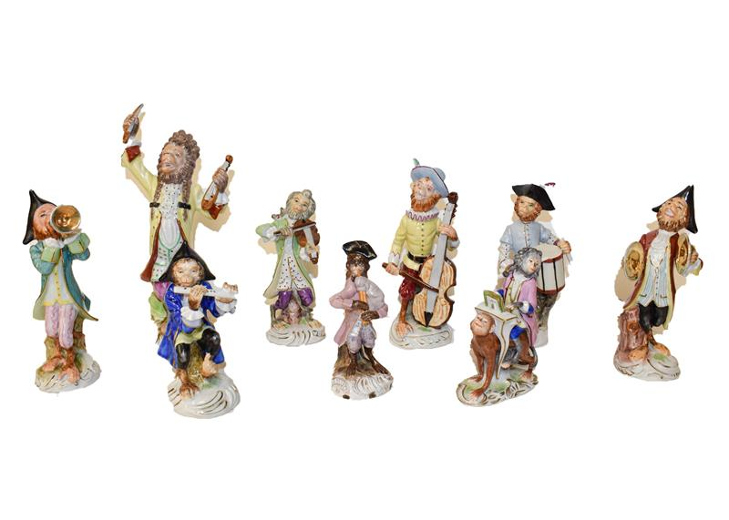 A Meissen style assembled nine piece monkey band Rudolstadt and Sitzendoff etc