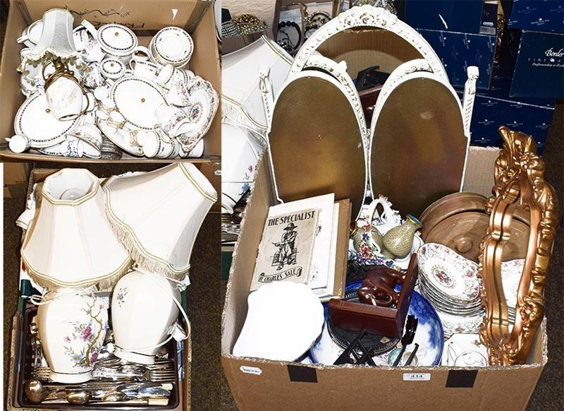 Three boxes of assorted including Spode Sherbourne part dinner and coffee service, Tuscan Orleans