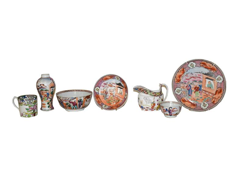 A tray of Newhall and associated 18th century tea wares including a part service decorated with ''