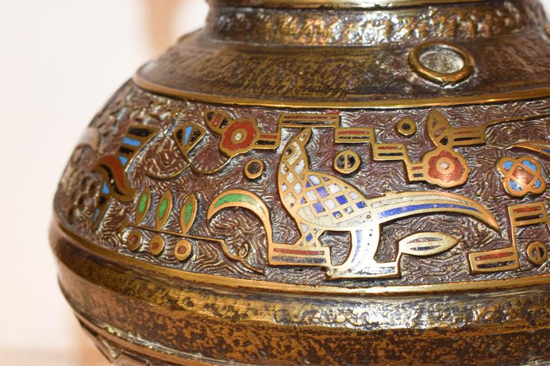 A Japanese twin handled bronze vase with champleve enamel decoration, 30cm, together with a koro - Image 25 of 25