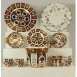 A quantity of Royal Crown Derby, mostly in the Imari design including a boxed planter, miniature