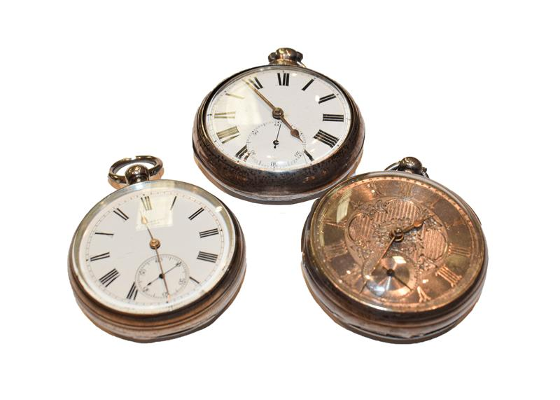 Two silver open faced pocket watches and a silver pair cased pocket watch, (3)