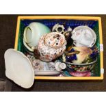 Three boxes of ceramics and glass including a Royal Crown Derby Derby Posies tea service, Shelley