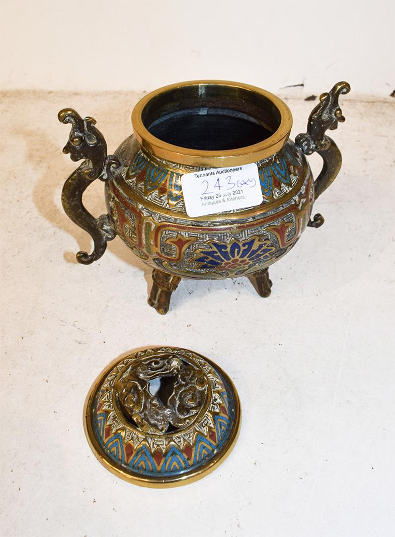 A Japanese twin handled bronze vase with champleve enamel decoration, 30cm, together with a koro - Image 6 of 25