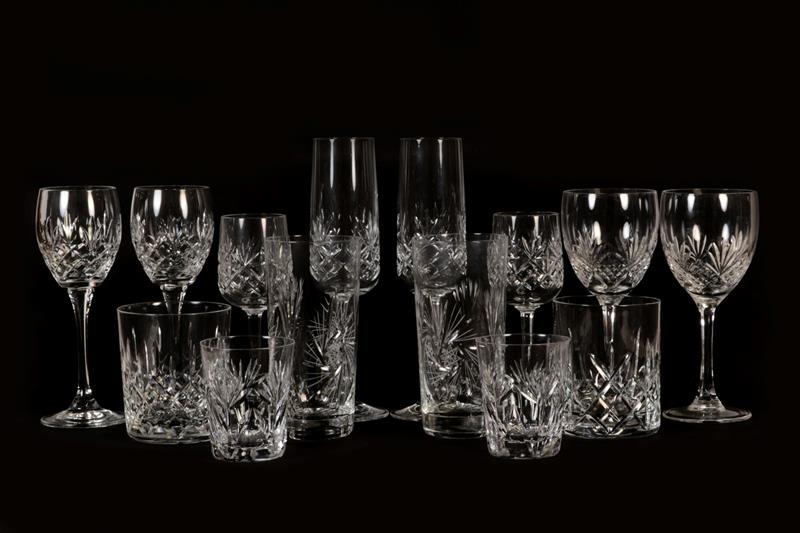 A part suite of glassware, mainly Edinburgh crystal (two trays), together with a box of assorted