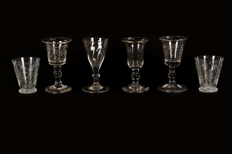 Four Georgian stemmed glasses, two with folded bases together with two 19th century beakers (6)