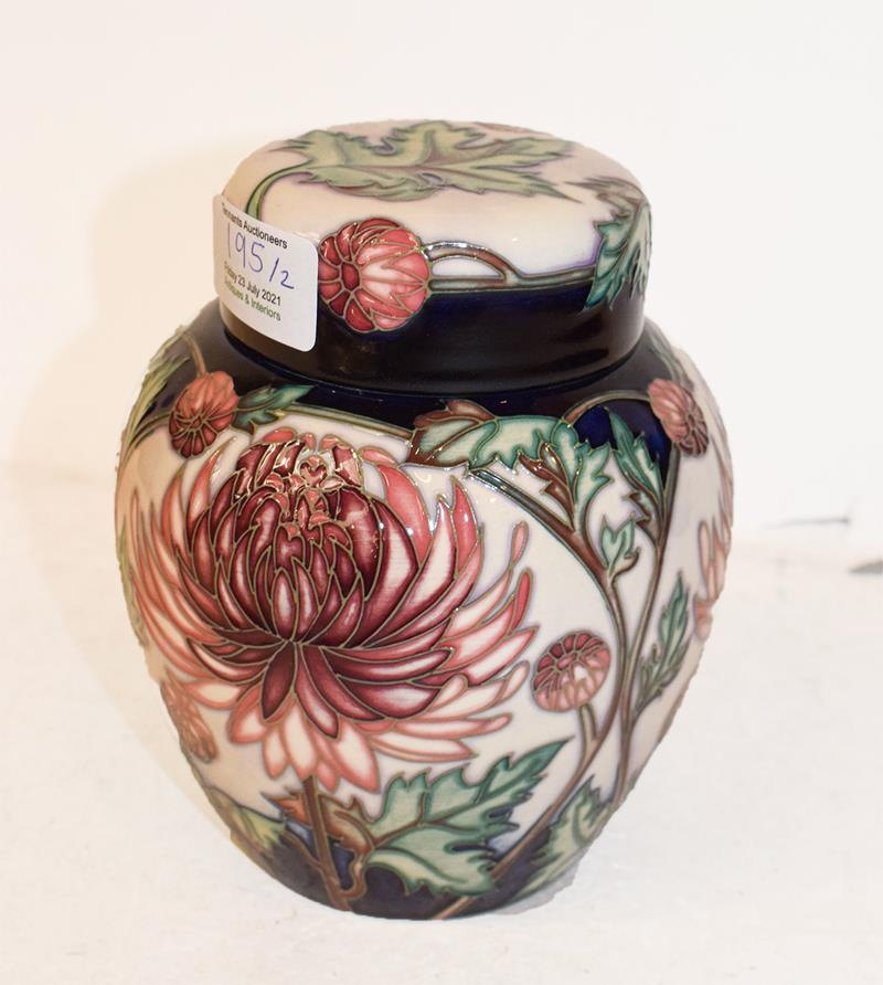 A modern Moorcroft Chrysanthemum pattern ginger jar and cover, designed by Carole Lovatt, 15.5cm and - Image 3 of 7