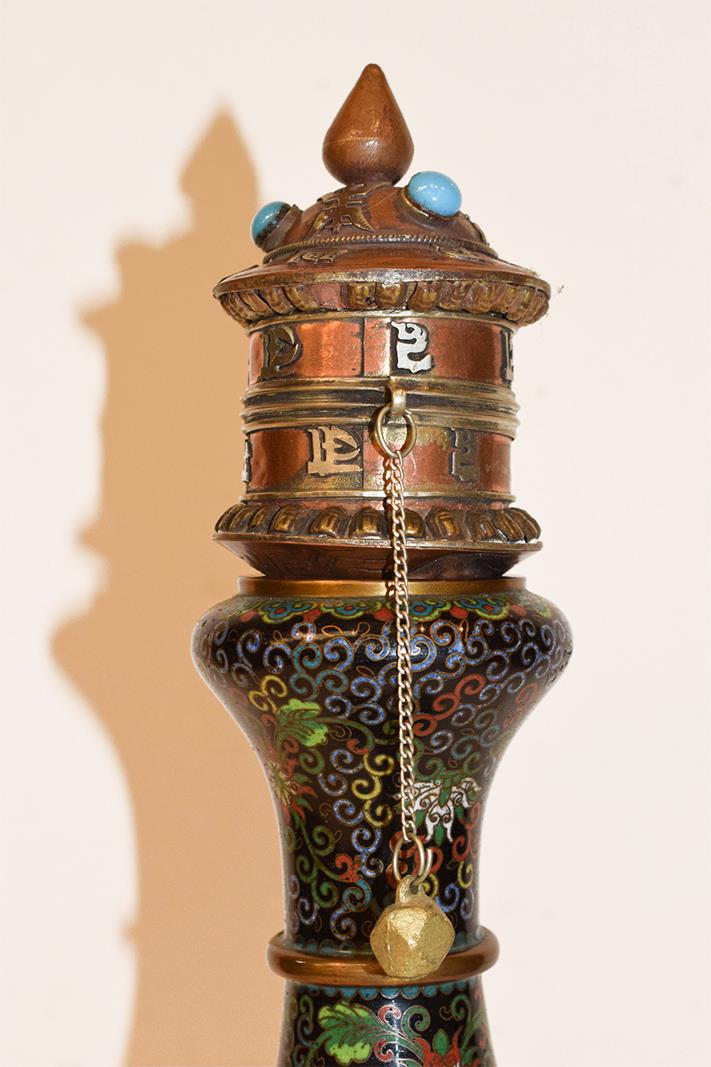 A Japanese twin handled bronze vase with champleve enamel decoration, 30cm, together with a koro - Image 16 of 25