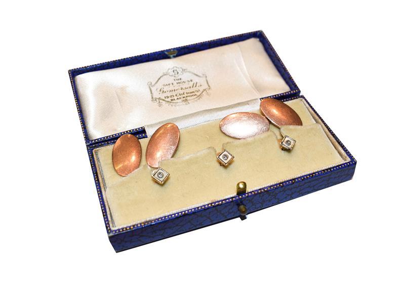 A pair of 9 carat gold cufflinks (a.f.); and three diamond dress studs, cased . 9 carat gold