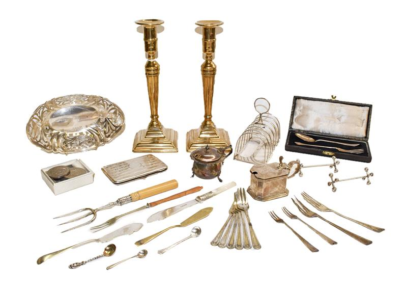A collection of assorted silver and silver plate, including two mustard pots, a toast rack and other