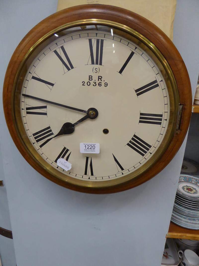 A 19th century eight day railway wall mounting timepiece in mahogany case, with painted 12'' dial - Image 2 of 11