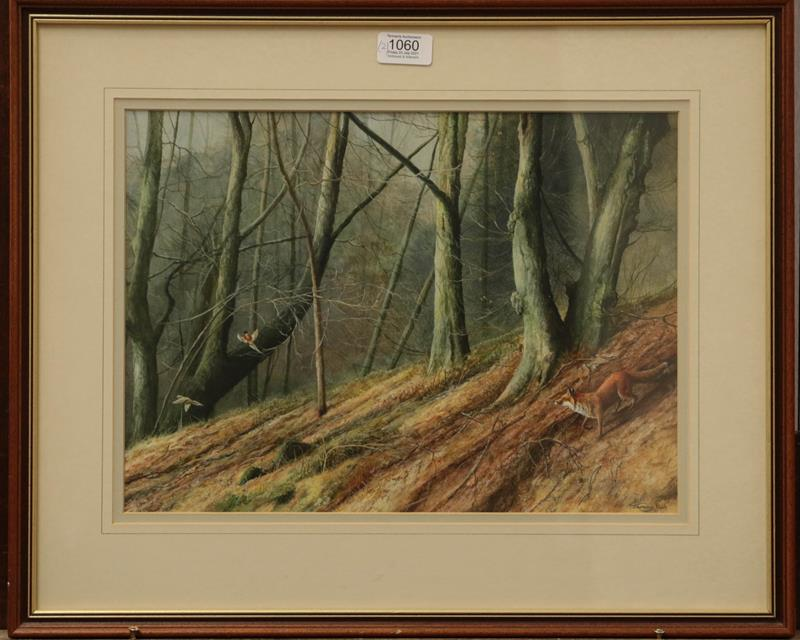 Jeremy Paul (20th century) Fox pursuing pheasant in a woodland, Signed, watercolour, together with a