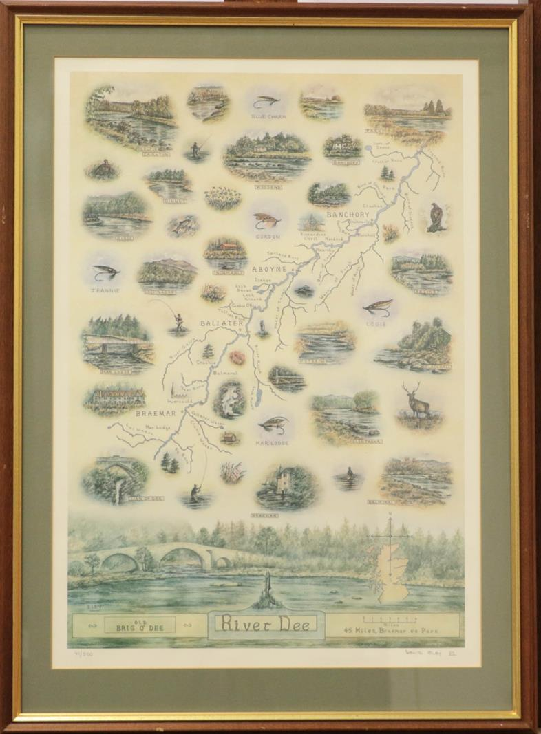 David Eley, two limited edition signed prints of the river Spey and the river Dee, 60cm by 42cm (2)