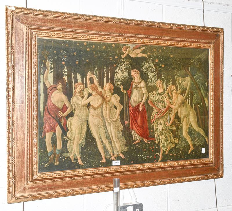 Premavera, after Sandro Botticelli print in a wide gilt frame, 57cm by 88cm