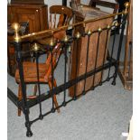 Victorian brass and black painted bedstead, 200cm by 139cm
