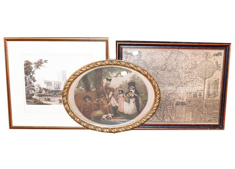 A large Victorian woolwork panel, interior scene and figures, 100cm by 75cm, a print after George - Image 2 of 5