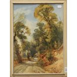 Bernard Evans (19th/20th century), A road through Bolton Woods, A Sketch from Nature, signed