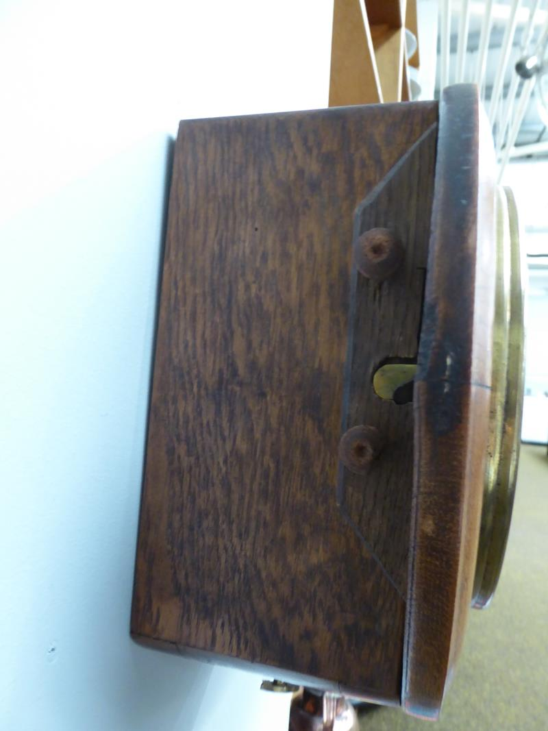A 20th century oak cased wall timepiece, 8'' painted dial bearing later inscription J.B.Joyce & Co - Image 4 of 8